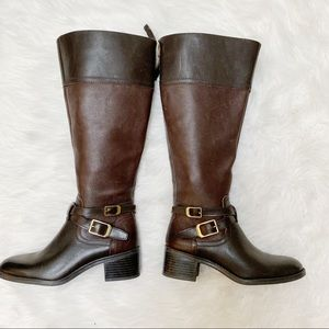 Franco Sarto Dark Brown Buckle Riding Boots 5.5M